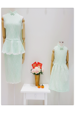 Lace Peplum Cheongsam Dress-Green