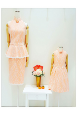 Lace Peplum Cheongsam Dress-Peach
