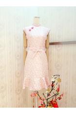 Cherry Flower Emboss Cheongsam Dress-Pink