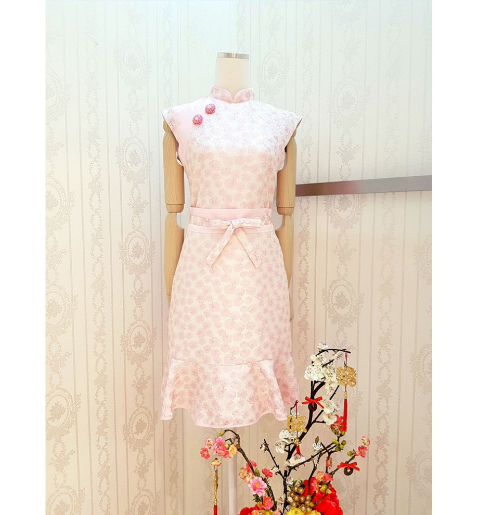 Cherry Flower Emboss Cheongsam Dress-Pink