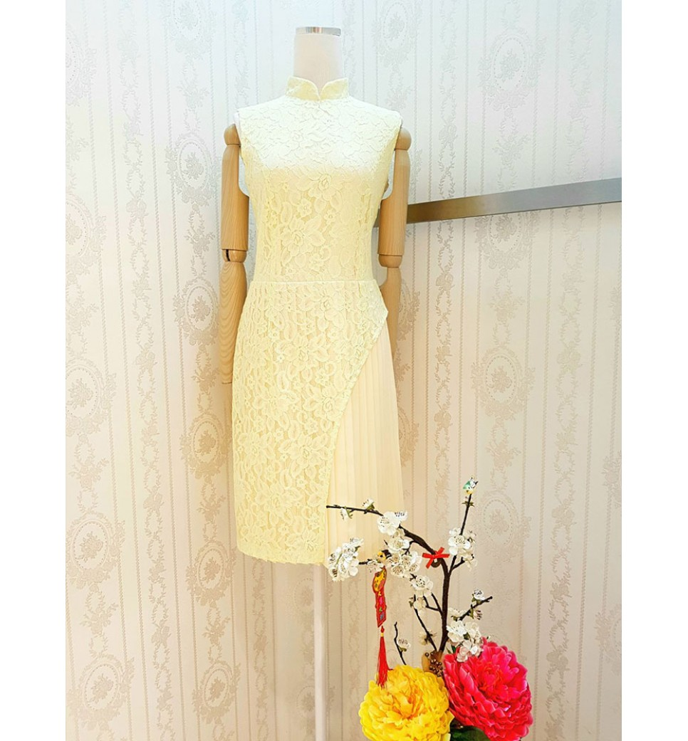 Lace Pleated Cheongsam Dress