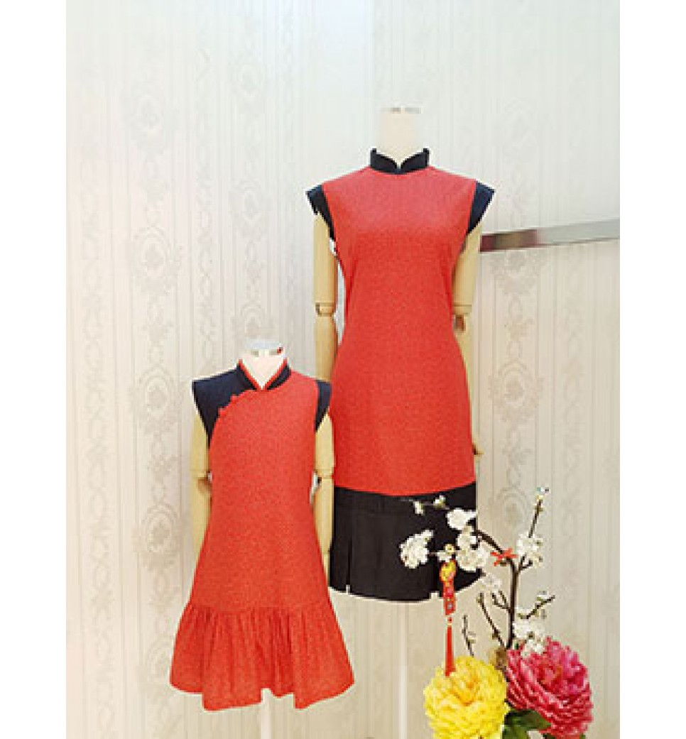 Red Colour Ting Ting Cheongsam Dress