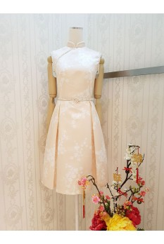 Sakura Pearl Cheongsam Dress-Peach