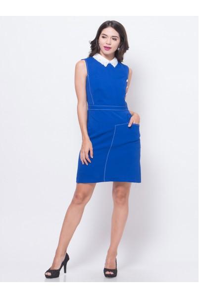 Lace Collar Pocket Dress