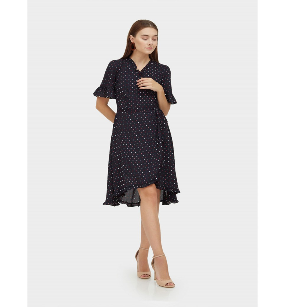 Poka Dot Overlap Dress