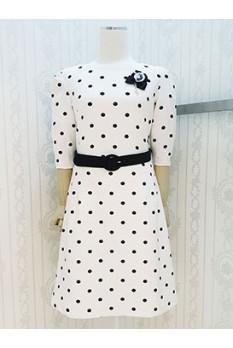 Black Dot Puff Sleeve Dress