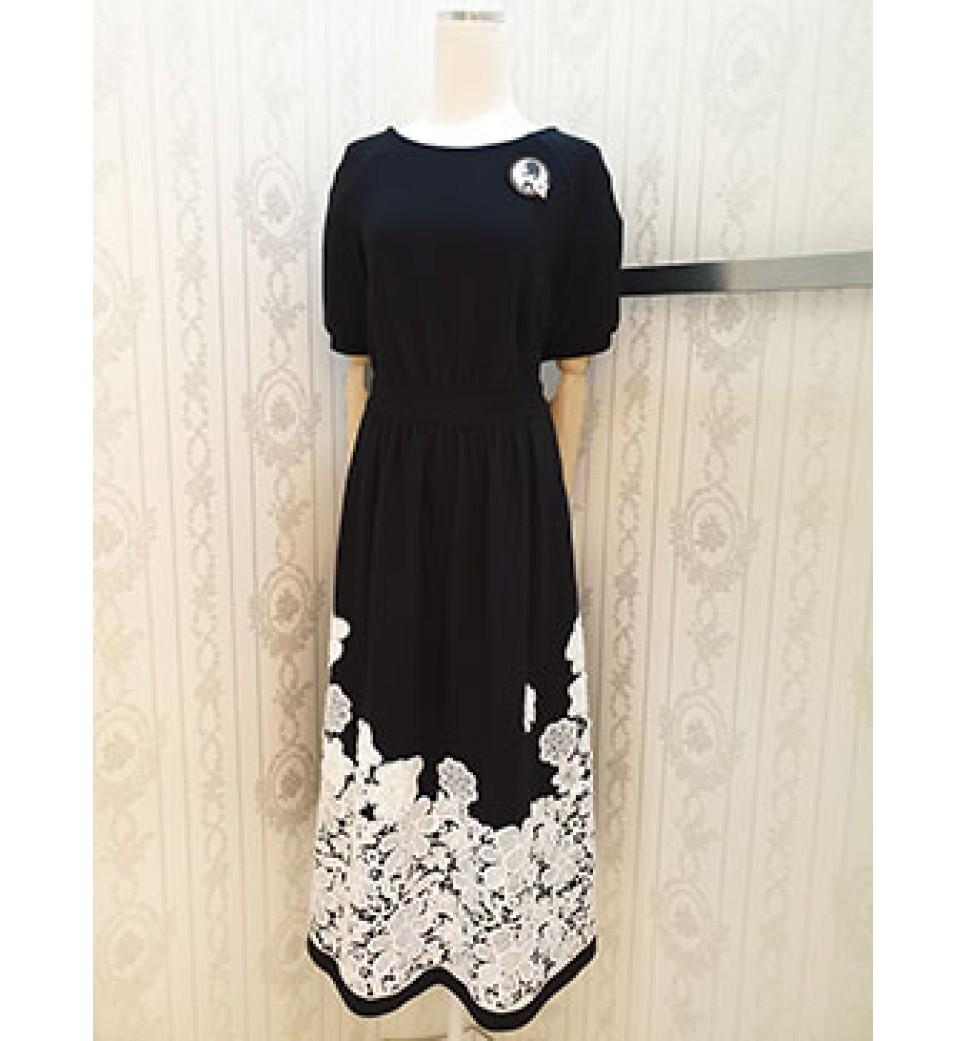 Black Emb Lace Dress