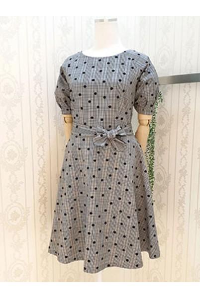 Ck Dot Puff Sleeve Dress