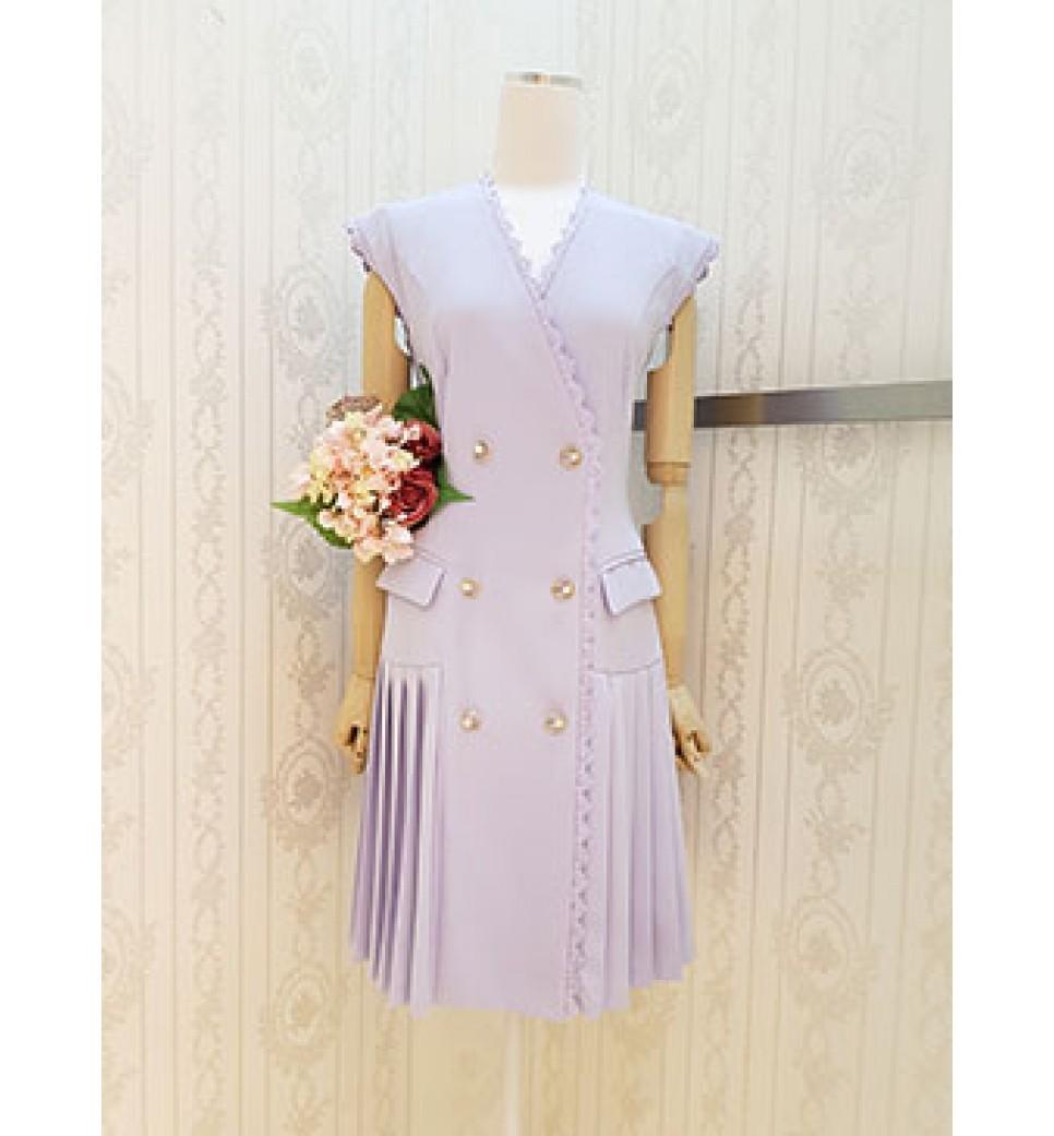 Overlap Side Pleated Dress