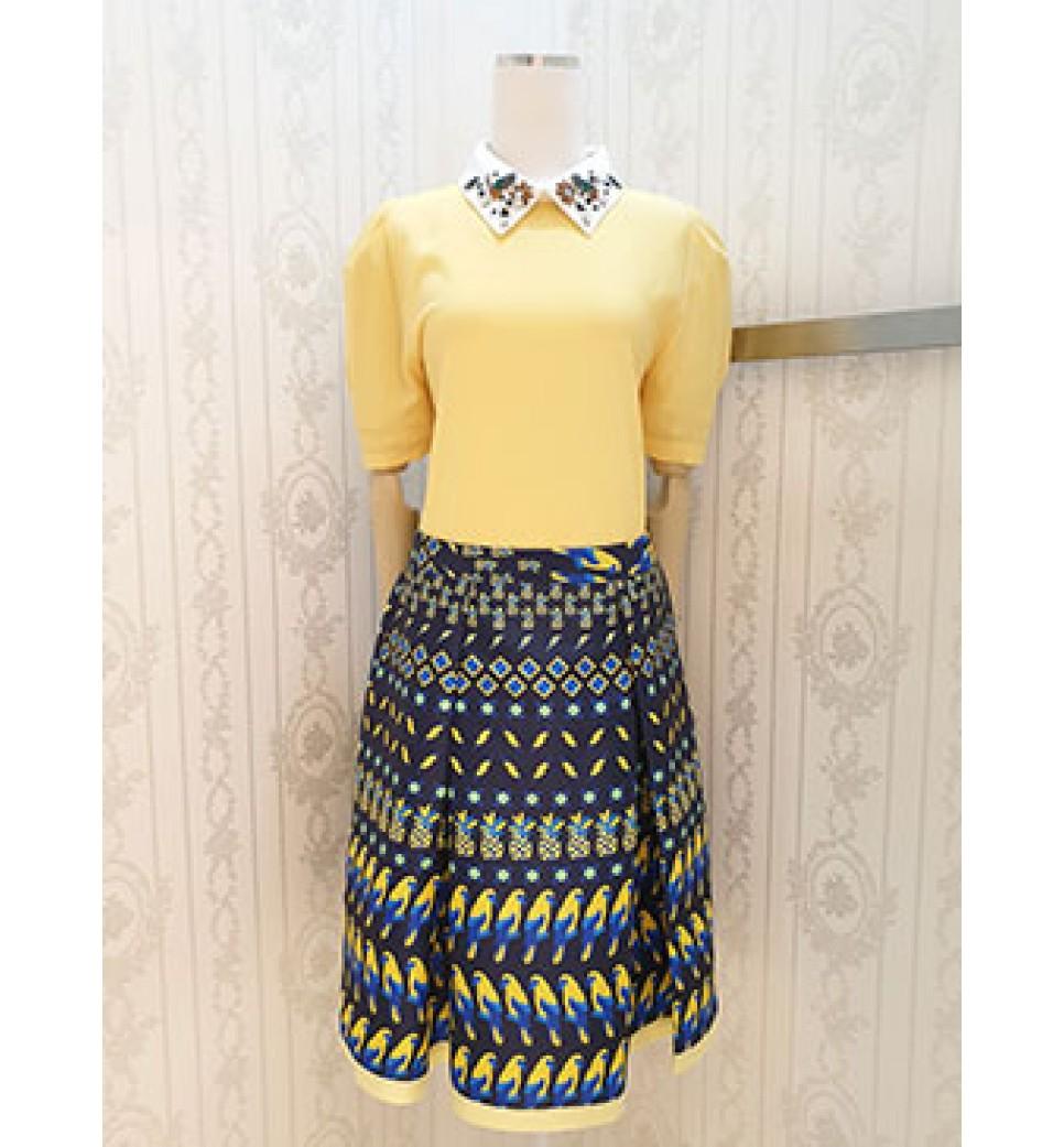 Yellow Birds Print Skirt