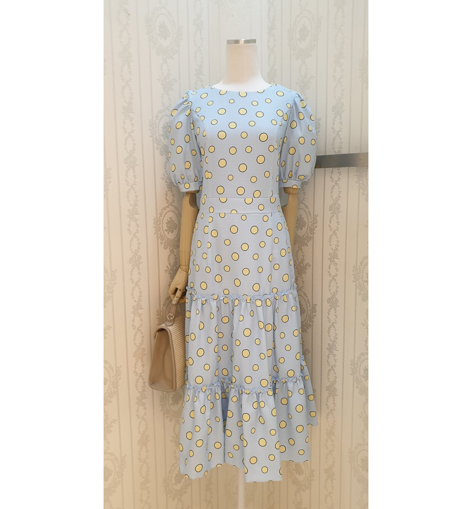 Yellow Dot Tier Dress