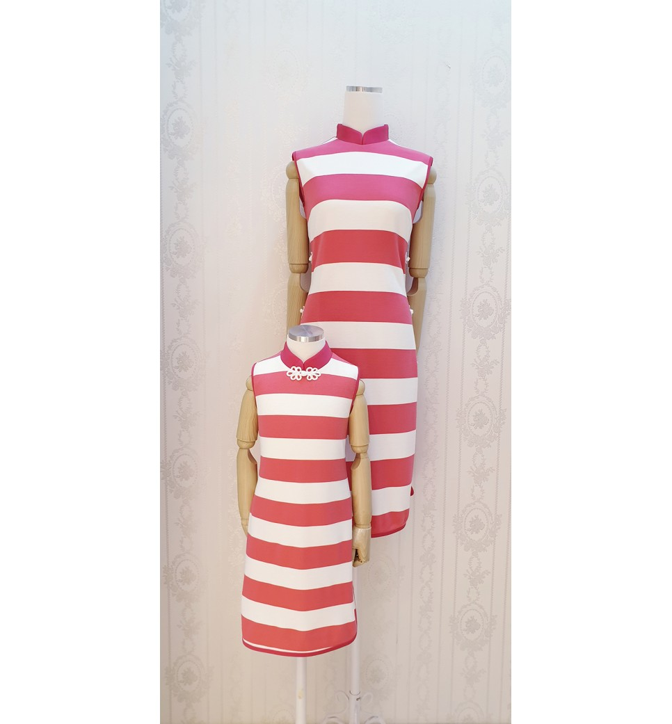 Pink Strip Mandarin Collar Dress-Girl