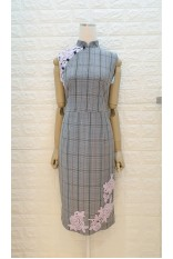 Lavender Rose Lace Checker Qipao