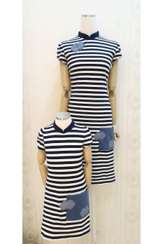 Navy Strip Pocket Mandarin Collar Dress