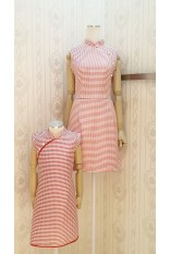 Red Checker Mandarin Collar-Girl