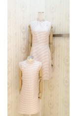 Pink Checker Mandarin Collar- Dress
