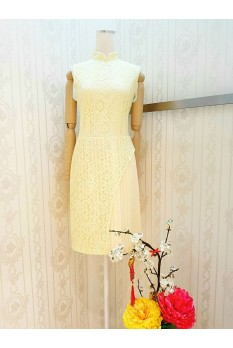 Lace Pleated Cheongsam Dress
