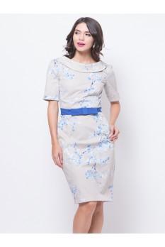 Boat Neck Sakura Print Dress