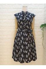 High Collar Frill Printed Dress