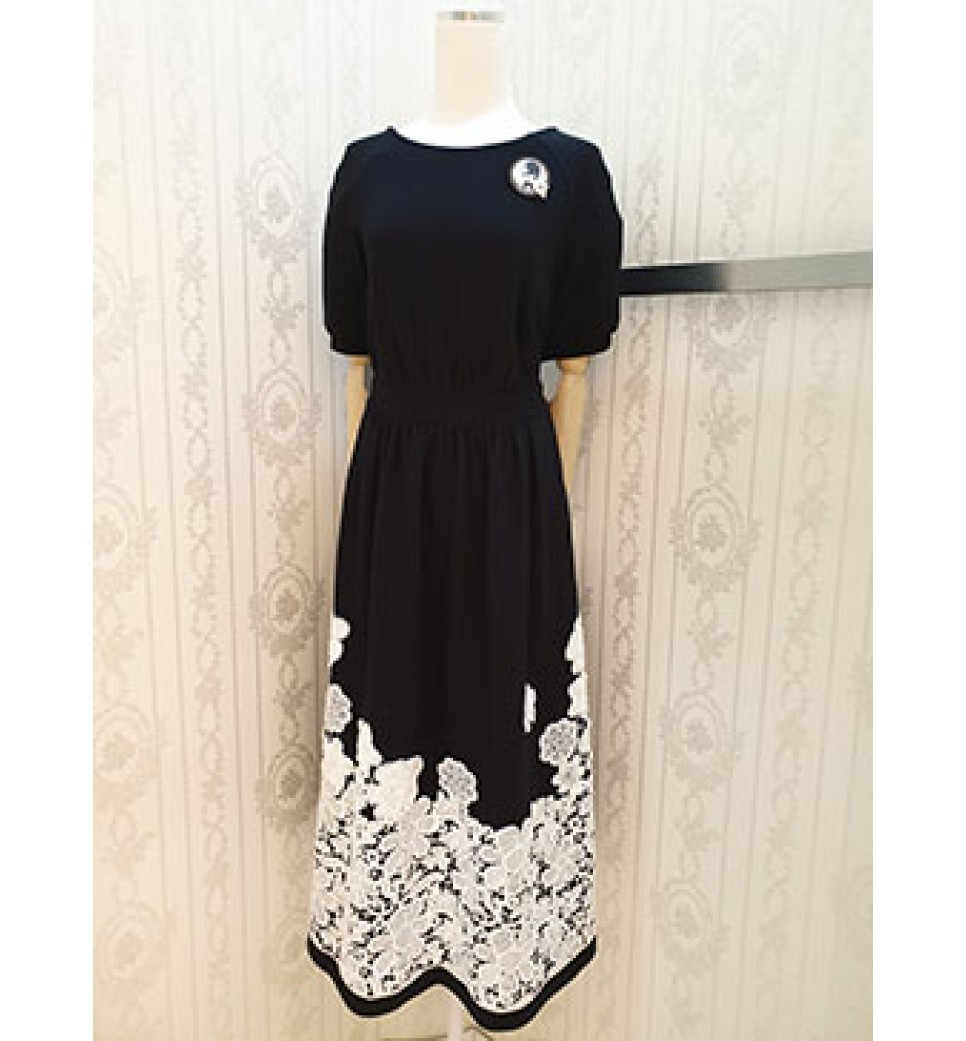 Black Emb Lace Dress