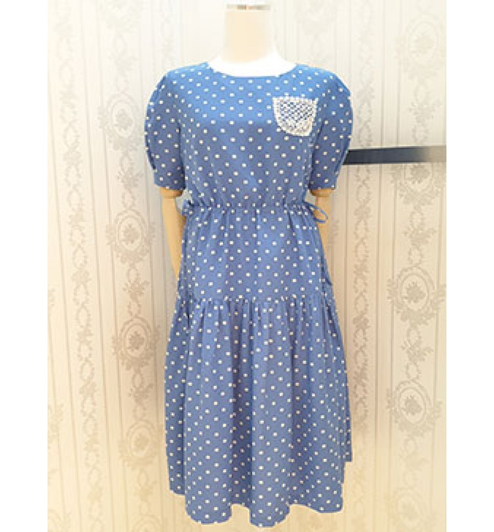 Blue Dot Baggy Dress