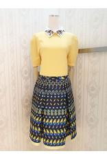 Yellow Birds Print Skirt