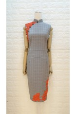 Tangerine Roses Lace Checker Qipao
