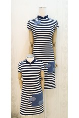 Navy Strip Pocket Mandarin Collar Dress-Girl