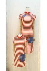 Red Strip Pocket Mandarin Collar Dress-Girl
